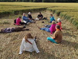 Gathering in a crop circle