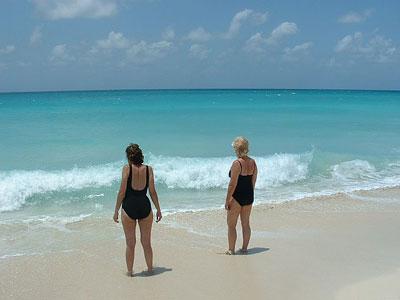 On Bimini beach